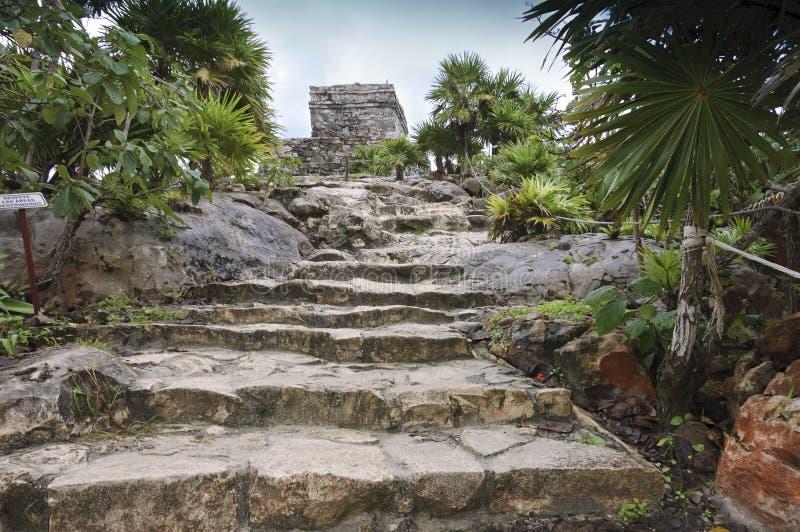 Escadas ao templo do vento em Tulum, imagens de stock