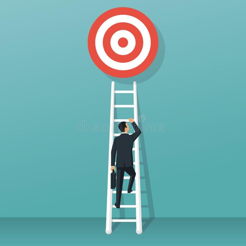 Escadas ao vetor do objetivo ilustração stock
