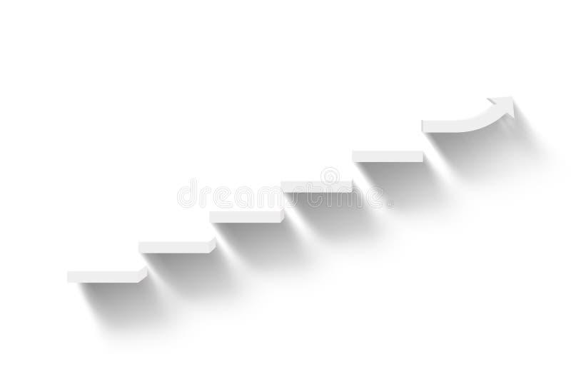 Escadas brancas de aumentação no fundo branco com sombra ilustração do vetor