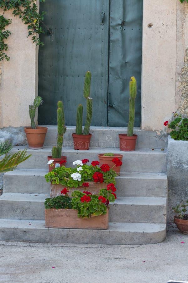 Escadas com potenciômetros de flor imagem de stock