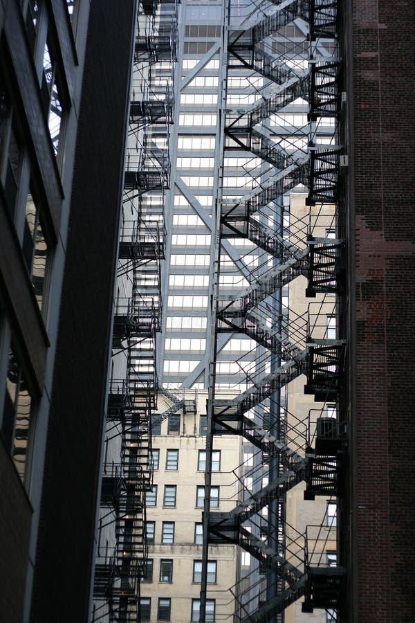 Escadas da emergência imagens de stock