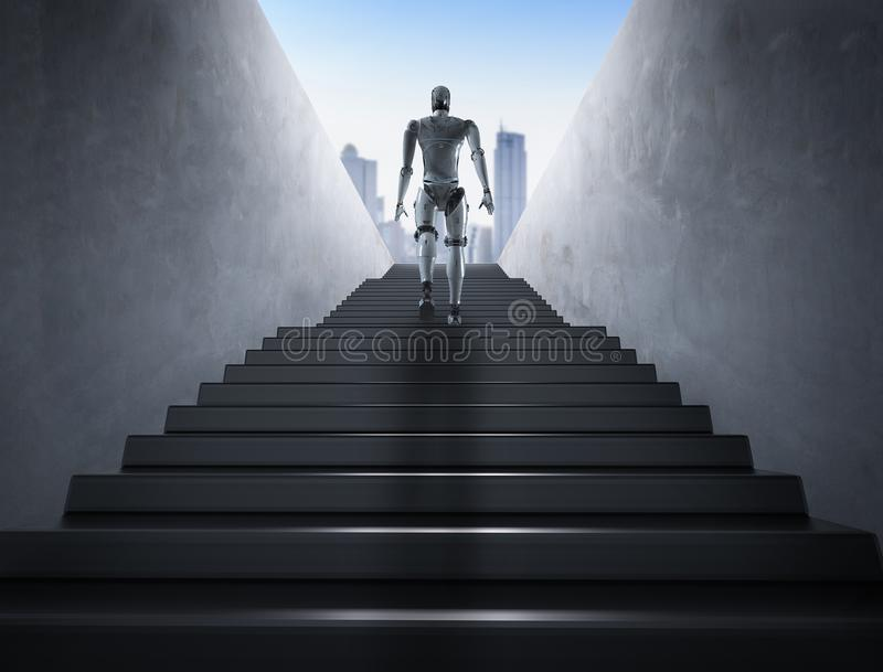 Escadas da escalada do robô ilustração do vetor