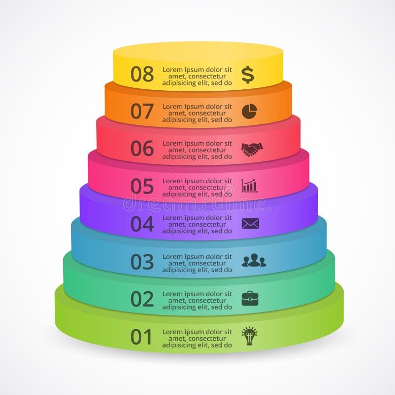 Escadas da pirâmide do vetor 3D infographic Molde para o diagrama, o gráfico, a apresentação e a carta da cor Partida de negócio ilustração do vetor