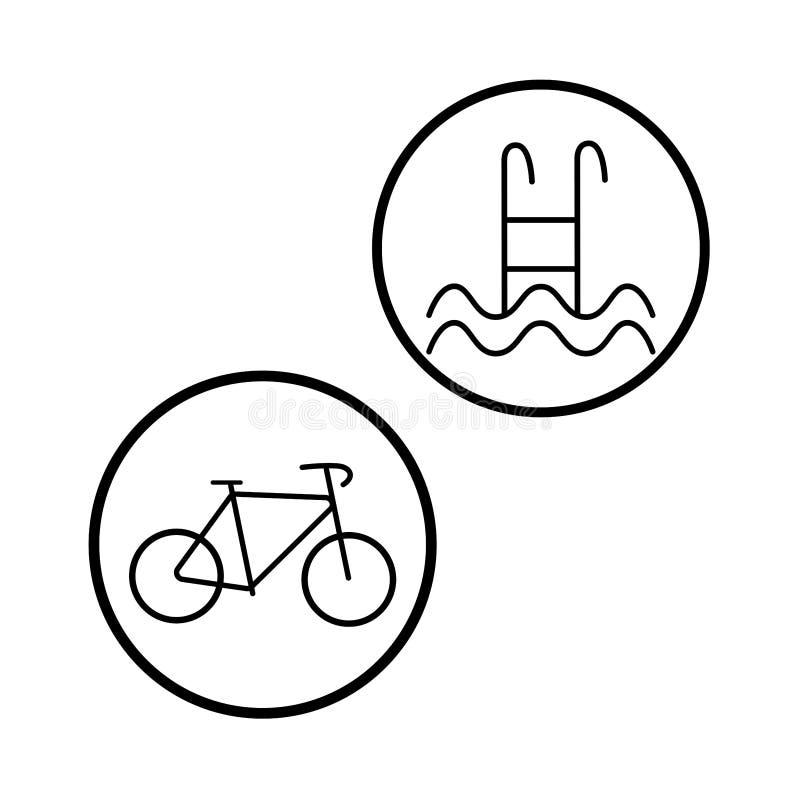 Escadas da piscina, ícone da escada Sinal da bicicleta isolado no fundo Simbols da bicicleta Projeto liso do vetor ilustração royalty free