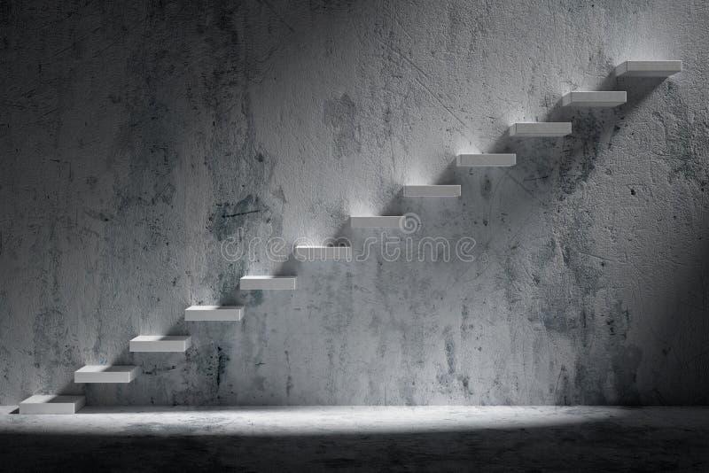 Escadas de ascensão da escadaria de aumentação em wi vazios escuros ásperos da sala ilustração stock