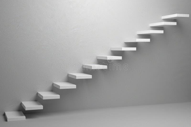 Escadas de ascensão da escadaria de aumentação no illu vazio branco da sala 3d ilustração stock