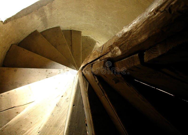 Escadas de madeira espirais imagem de stock