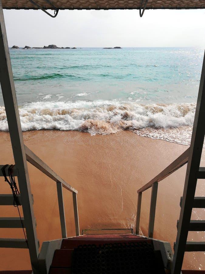 Escadas de madeira que conduzem para baixo à água do mar na praia fotografia de stock royalty free