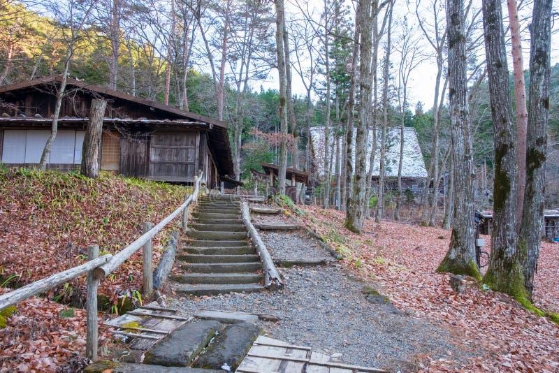 Escadas de pedra a andar acima às casas feitas da madeira e do lado enchidos com as folhas secas fotos de stock
