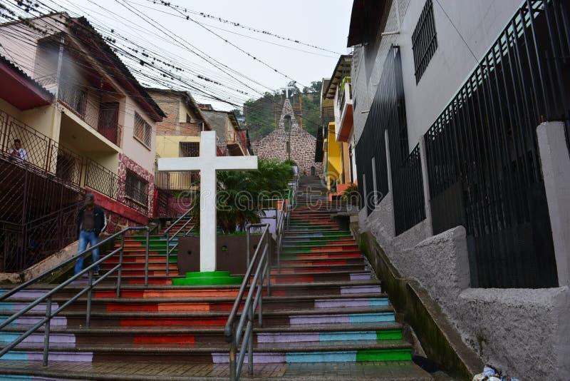 Escadas de uma vila em Tegucigalpa, Honduras fotografia de stock