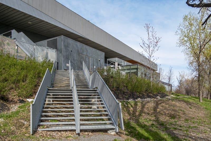 Escadas do estádio de futebol de Montreal imagem de stock royalty free