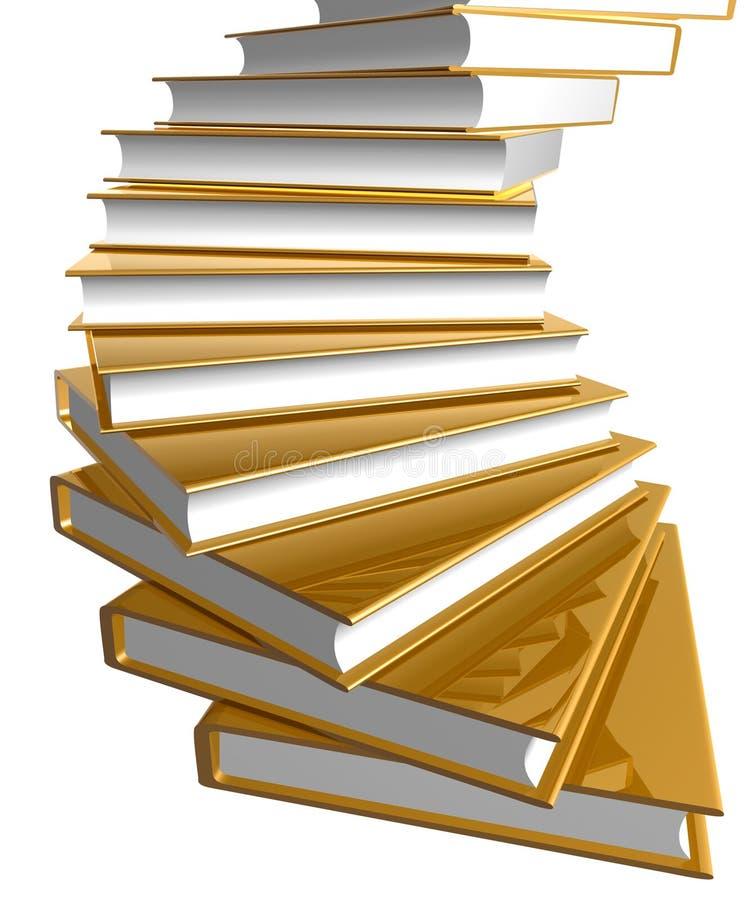 Escadas douradas do livro ilustração stock