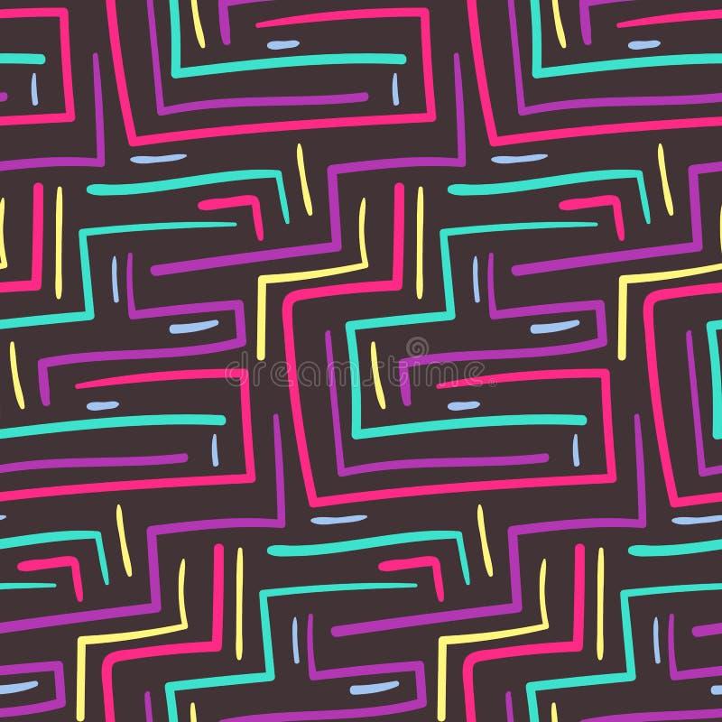 Escadas e linhas coloridas tribais abstratas teste padrão sem emenda dos ângulos ilustração royalty free