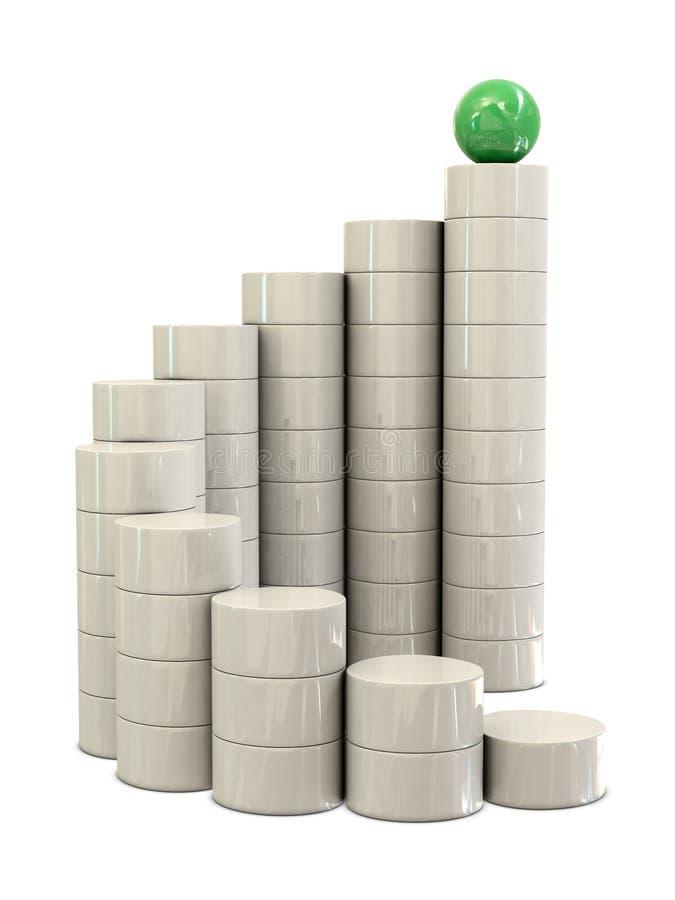 Escadas espirais e esfera verde ilustração do vetor