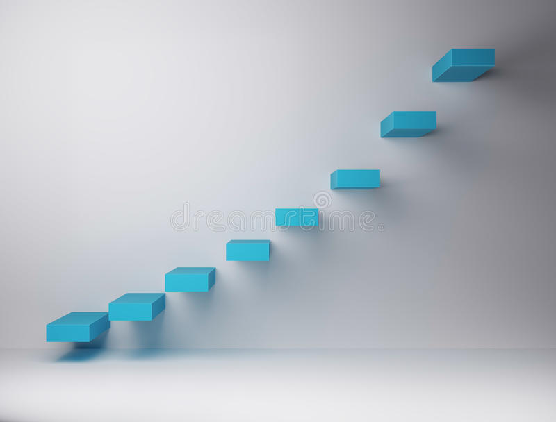 Escadas exponencialmente organizadas no fundo branco ilustração royalty free