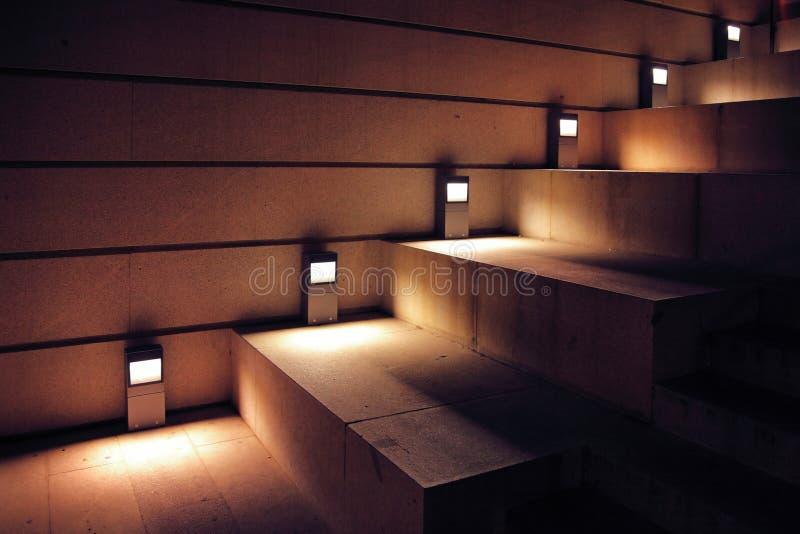 Escadas iluminadas fotografia de stock