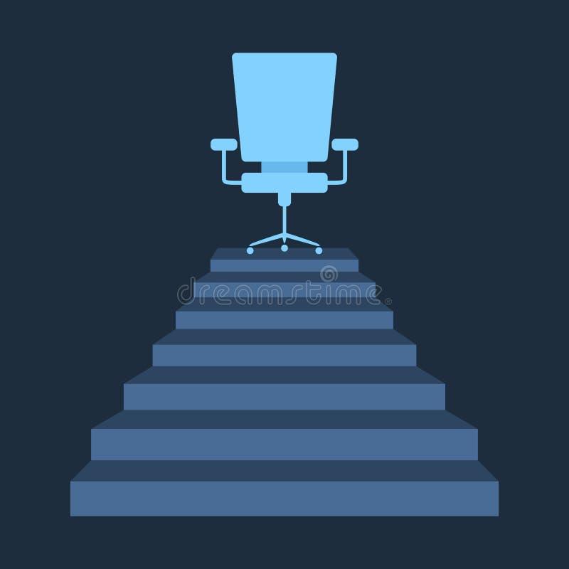 Escadas lisas do estilo que alcançam uma cadeira incorporada ilustração royalty free