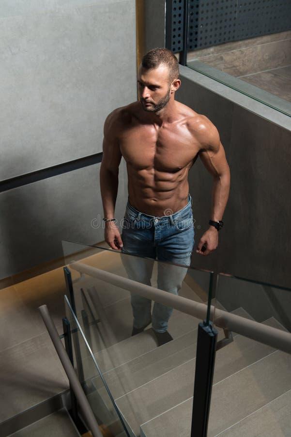 Escadas modelo de Standing Strong On fotos de stock royalty free