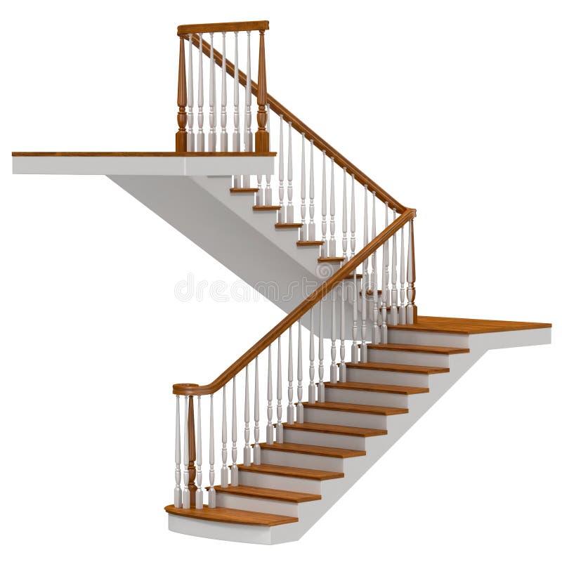 Escadas na ilustração 3D branca ilustração do vetor