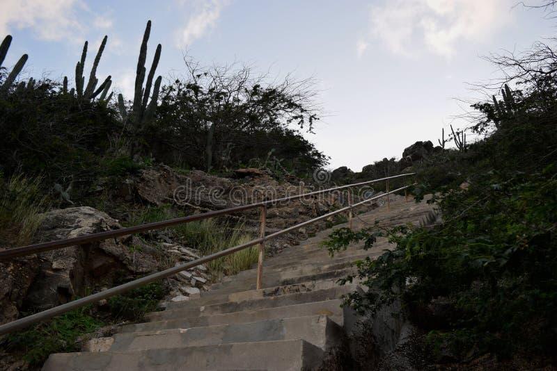 Escadas na natureza em Hooiberg fotografia de stock