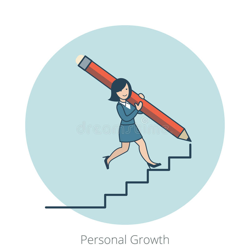 Escadas pessoais lisas lineares da mulher de negócio do crescimento ilustração stock