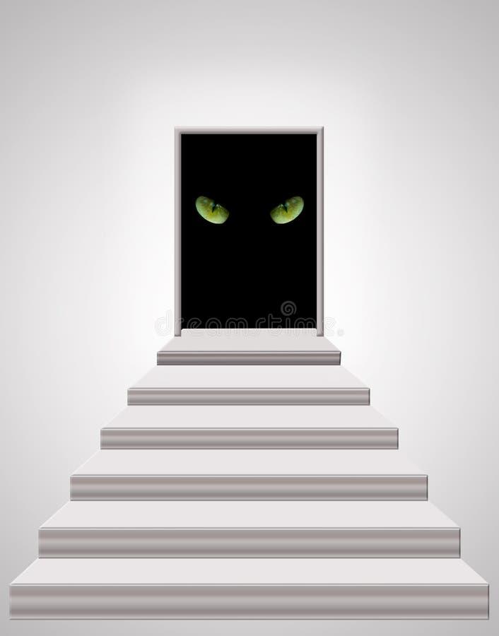 Escadas que conduzem à porta com os olhos de gato na escuridão fotografia de stock