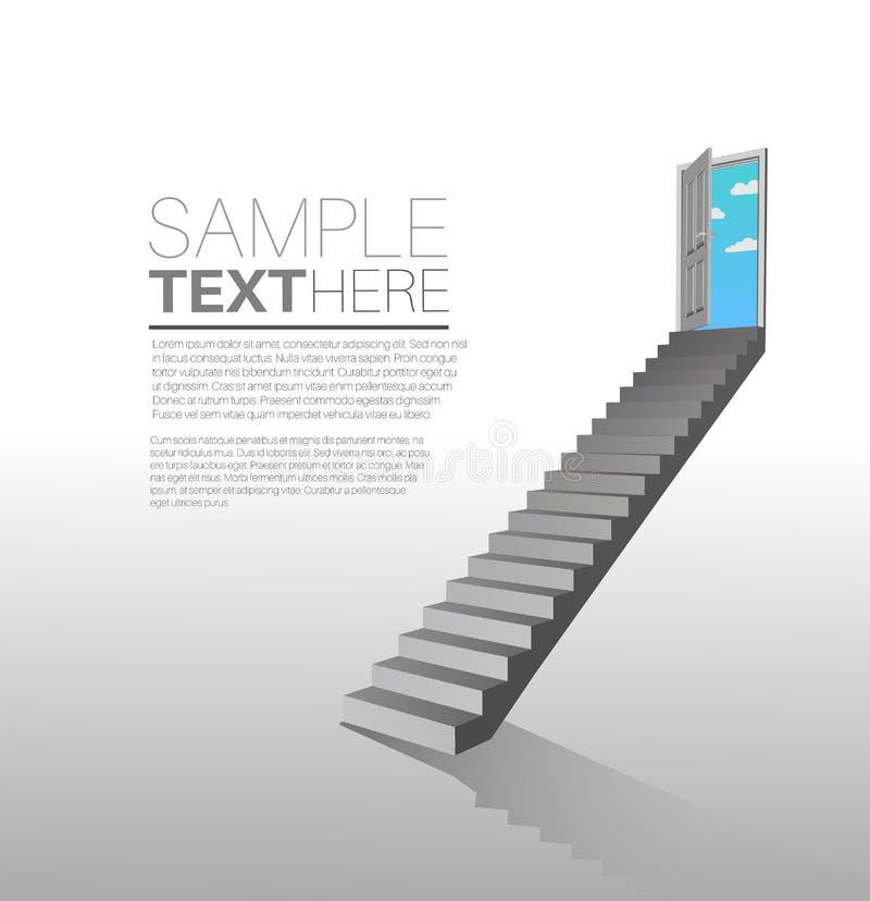 Escadas que conduzem ao estar aberto com sala para o texto ilustração royalty free