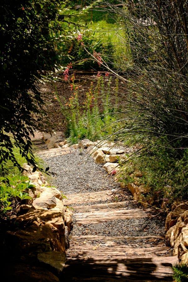 Escadas rústicas em um jardim fotos de stock