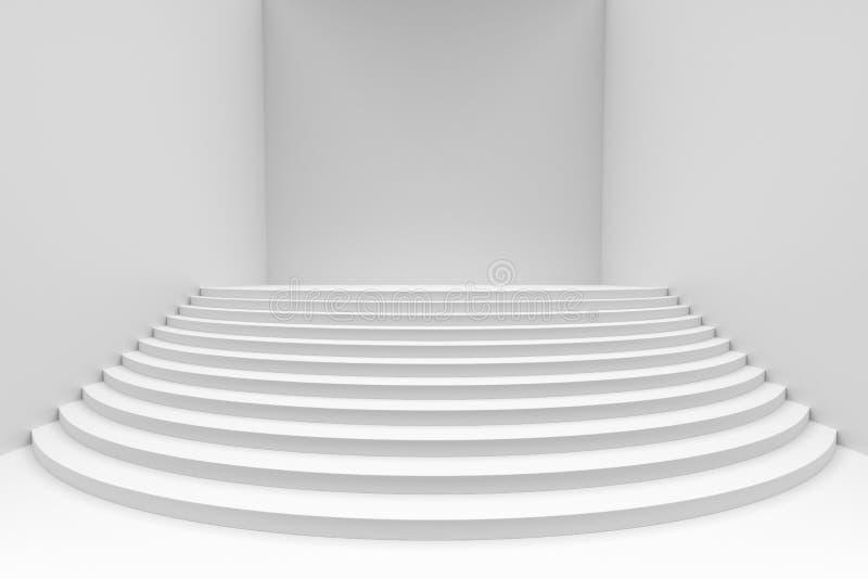 Escadas redondas brancas na opinião dianteira do ângulo largo vazio da sala branca ilustração do vetor