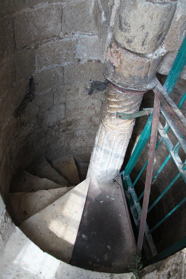 Escadas Redondas Dentro Da Torre Branca, Ramla, Israel imagem de stock royalty free