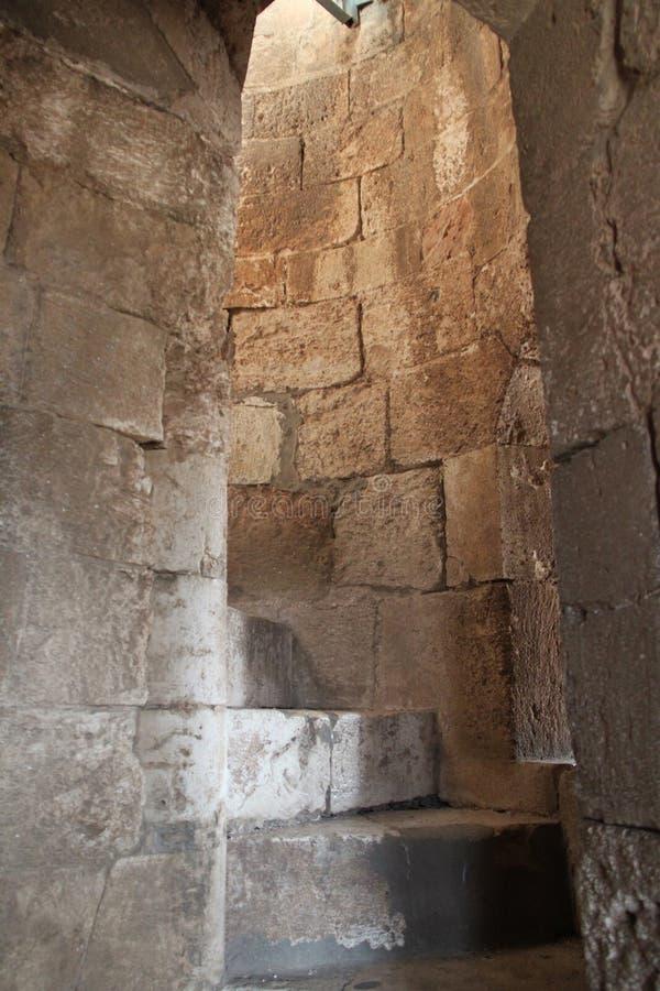 Escadas Redondas Dentro Da Torre Branca, Ramla, Israel fotografia de stock