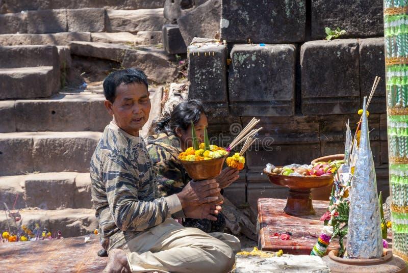 Escadas velhas no templo de Wat Phou, Laos fotografia de stock royalty free
