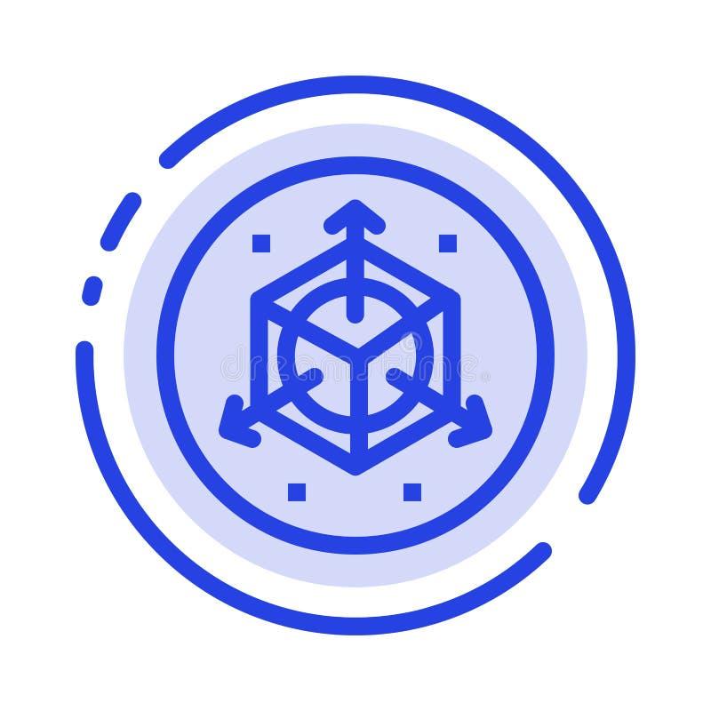 Escala, alteração, projeto, 3d linha pontilhada azul linha ícone ilustração do vetor