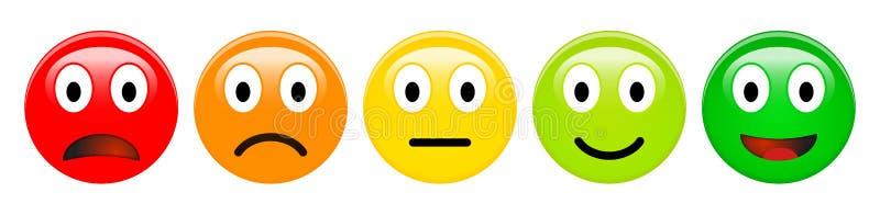 Escala de avaliação do feedback dos emoticons vermelhos, alaranjados, amarelos e verdes, ícones do smiley 3d em cores diferentes ilustração do vetor