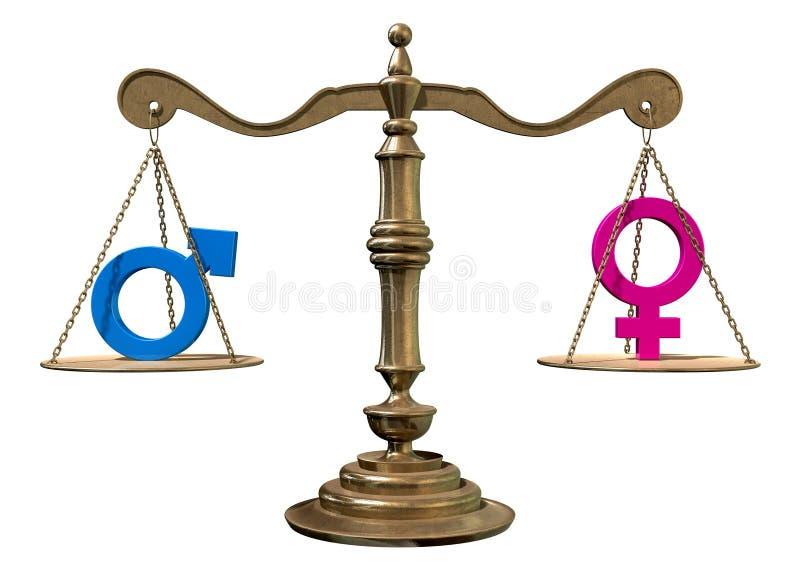 Escala de equilibrio de la igualdad de género stock de ilustración