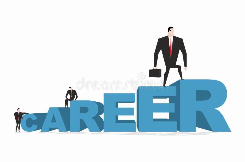 Escala de la carrera carrera Achieve mejora en trabajo El hombre de negocios va stock de ilustración