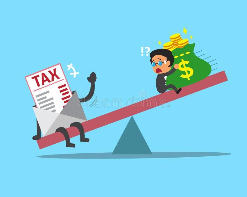 Escala de la historieta entre el hombre de negocios y el impuesto ilustración del vector