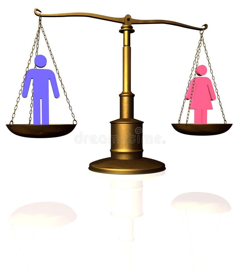 Escala de la igualdad de la mujer del hombre ilustración del vector