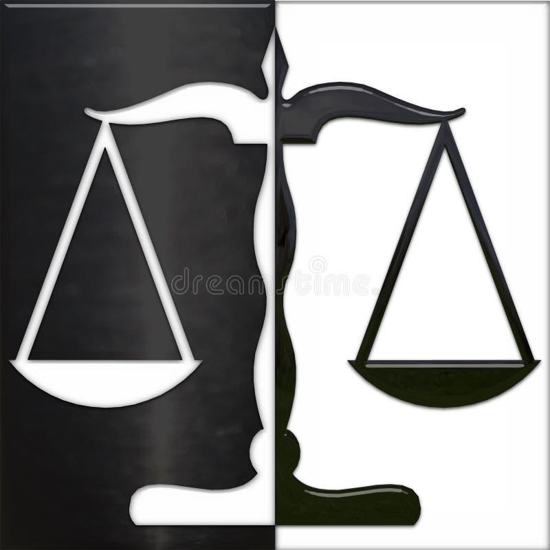 Escala de la justicia blanco y negro stock de ilustración