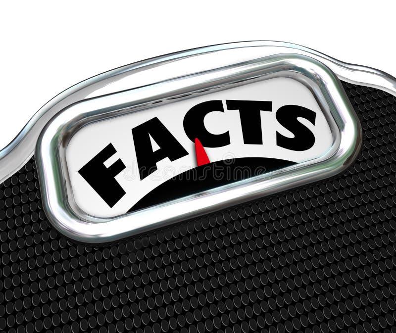Escala de la palabra de los hechos que pesa opciones de la investigación de la información libre illustration
