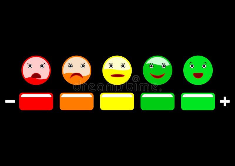 Escala de la reacción de la emoción en fondo negro stock de ilustración