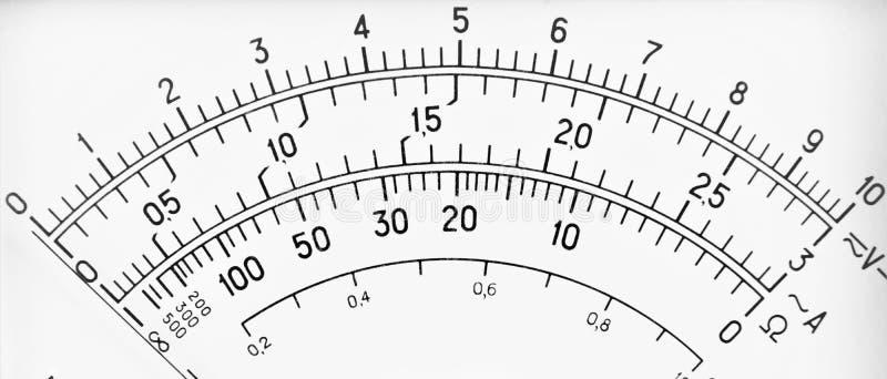 Escala de medición del electricista del instrumento fotos de archivo