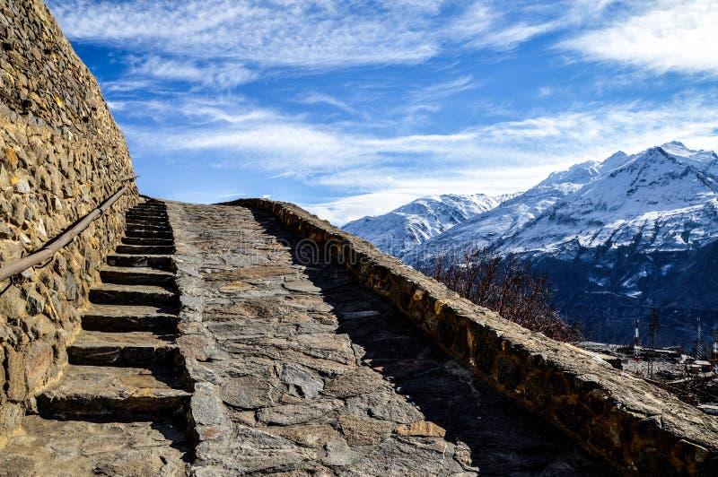 Escala de montanhas de Batura Muztagh, Karakoram fotografia de stock