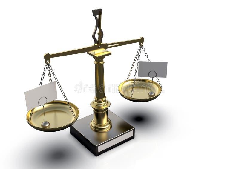 Escala de oro metálica de la balanza del vintage en fondo ligero libre illustration