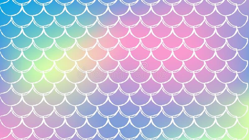 Escala de pescados y fondo de la sirena ilustración del vector