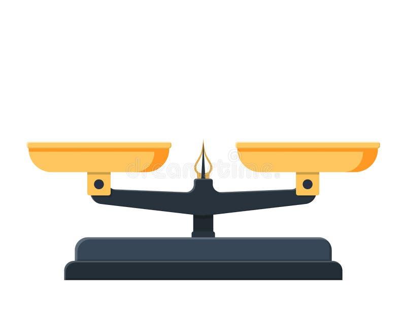Escala de peso com bandejas douradas ilustração stock