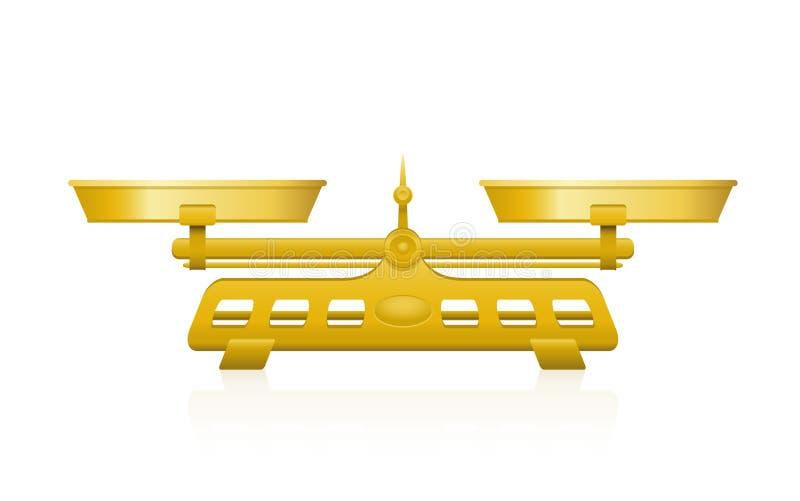 Escala de peso dourada dois Pan Balance ilustração royalty free