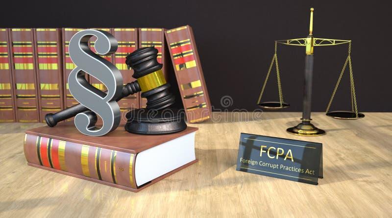 Escala del mazo de los jueces del párrafo de FCPA ilustración del vector