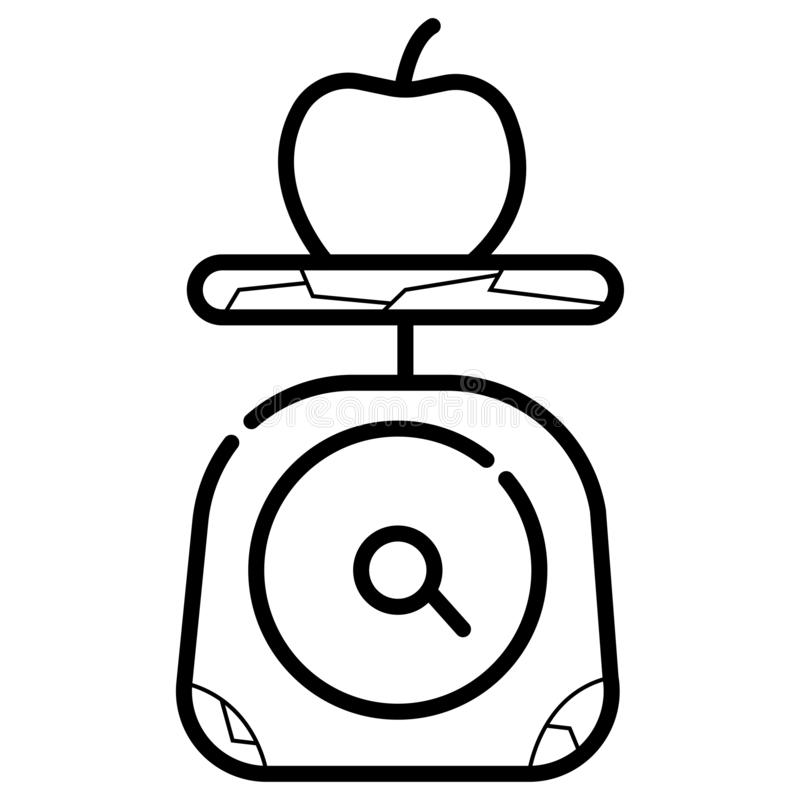 Escala del peso con la manzana ilustración del vector