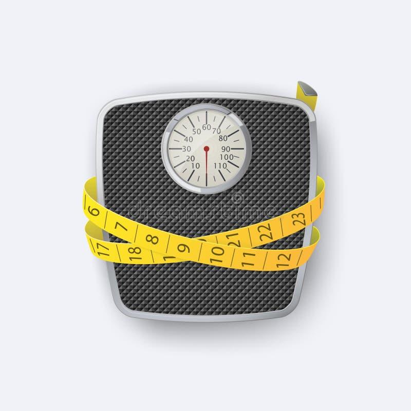 Escala del peso Escala y cinta m?trica del peso del piso del cuarto de ba?o stock de ilustración